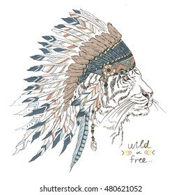tiger in war bonnet, native american poster, animal illustration