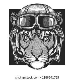 Tiger, wild cat wearing aviator hat. Print for children clothes, tee, t-shirt. Pilot wild animal