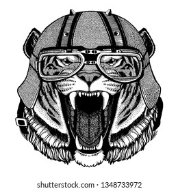 Tiger, wild cat wearing a motorcycle, aero helmet. Hand drawn image for tattoo, t-shirt, emblem, badge, logo, patch