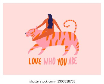 Tiger and a women inspirational poster. Love yourself 8 of march greeting card.