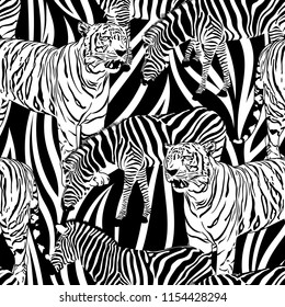 Tiger and zebra seamless pattern. Wild life animals. Black and white texture. Illustration