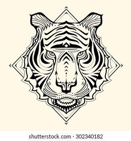 Tiger Zentangle design,vector illustration