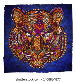 Tiger zentangle. Wildlife vector illustration. Tribal. Tiger head zentangle ornament. Animal. Zoo. Safari. Jungle. Ethnic ornament. Africa. India. Coloring book page. Wild cat.