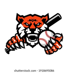 Tigers Baseball team design with head mascot Tiger holding ball and Baseball Bat . Great for team or school mascot or t-shirts and others.