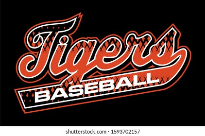 tigers baseball team design in script with tail for school, college or league