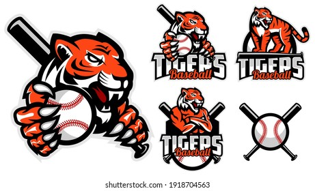 Tigers Baseball team design with set or collection mascot tigers holding ball and Baseball bat. Great for team or school mascot or t-shirts and others.