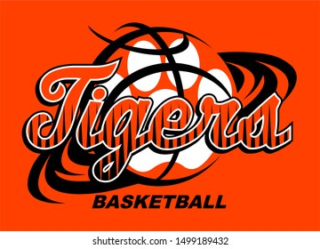 tigers basketball team design with swishes and paw print for school, college or league