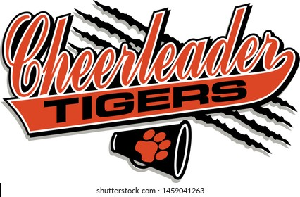 tigers cheerleader team design in script with tail for school, college or league
