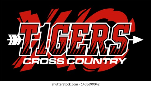tigers cross country team design with arrow for school, college or league