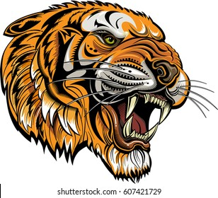 Tigers face. Saber toothed tiger tattoo