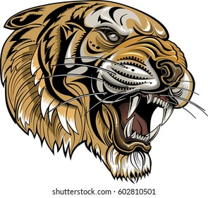 Tigers Face. Saber-toothed tiger