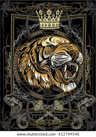 a0764bcfd Tigers Face Tiger Tattoo Stock Vector (Royalty Free) 612749540 ...