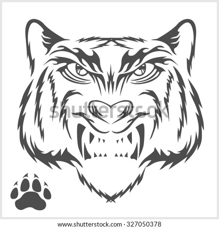 7ddd349ff945e Royalty-free stock vector images ID: 327050378. Tigers head and foot print  tattoo design. Black isolated on white - Vector