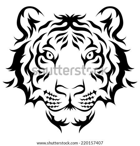 Tigers Head Tribal Tattoo Design Black Stock Vector Royalty Free