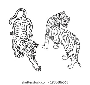 tigers line art vector illustrations for designers and other creative use