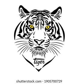 The tiger's muzzle is graphic. Symbol of 2022. Vector illustration