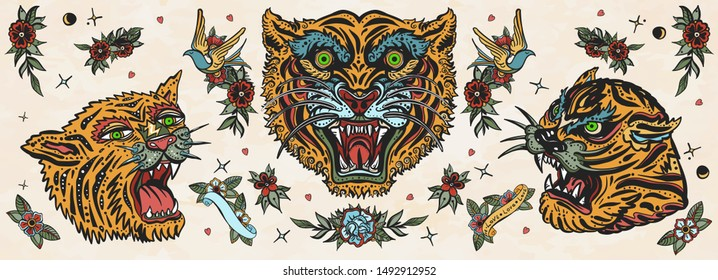 Tigers. Old school tattoo collection. Asian wild cats. Traditional tattooing, japan style