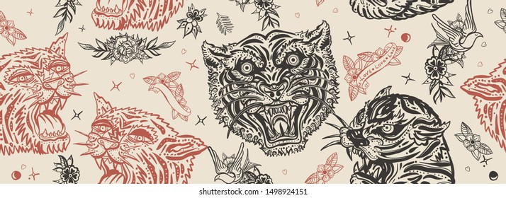 Tigers seamless pattern. Old school tattoo. Asian wild cats heads, japan art style. Vintage traditional tattooing