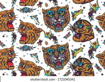 Tigers seamless pattern. Old school tattoo. Japan art style. Asian wild cats heads. Traditional tattooing background