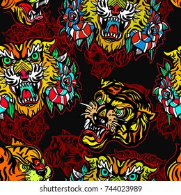Tigers seamless pattern, old school tattoo vector. Fashionable tigers heads and flowers roses pattern. Classic flash tattoo style, patches and stickers