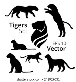 Tigers set vector