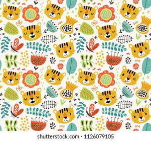 Tigers  vector seamless pattern