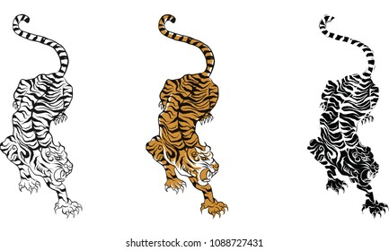 tiger,Thai traditional tattoo, Thai traditional painting in temple vector