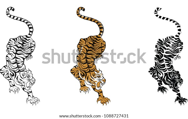 2f94da36c tiger,Thai traditional tattoo, Thai traditional painting in temple vector