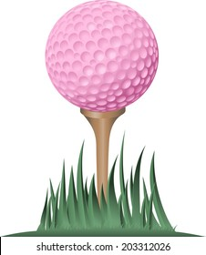 Tight ground level view point of a pink golf ball on the tee.