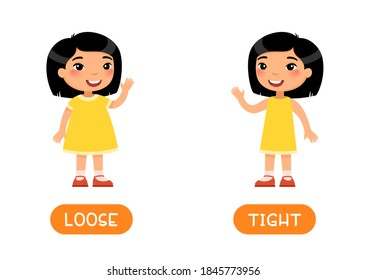 TIGHT and LOOSE antonyms flashcard vector template. Opposites concept. Word card for english language learning with flat characters. Asian girl in skinny and loose dresses illustration with typography
