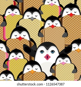 Tight vector seamless pattern of penguins carrying ice cream briquettes