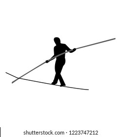 Tightrope walker balancing with a pole black silhouette, isolated on white background