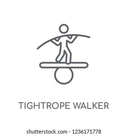 Tightrope walker linear icon. Modern outline Tightrope walker logo concept on white background from Circus collection. Suitable for use on web apps, mobile apps and print media.