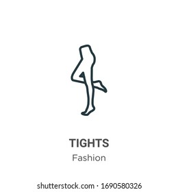 Tights outline vector icon. Thin line black tights icon, flat vector simple element illustration from editable fashion concept isolated stroke on white background