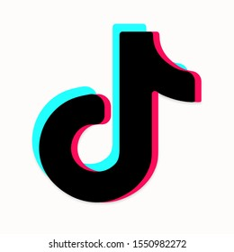 Tik Tok icon. Tricolor vector flat melody icon isolated on white background. Music, sound, equalizer icon design. Social media icon. Vector illustration