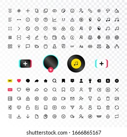 Tik Tok web social media interface application icons, modern design icons, buttons, signs, symbols for web and mobile apps, social media network, blogging icons. Tiktok Vector illustration