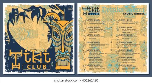 Tiki bar club menu, template design. Drinks flyer. Seamless pattern on a separate layer