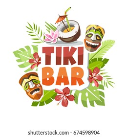 tiki bar hawaii party time holiday vacation creative