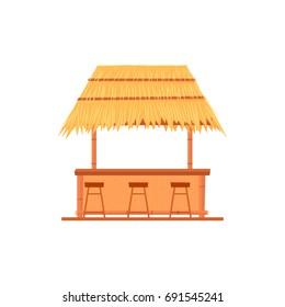 tiki bar hut. Vector illustration isolated on white background