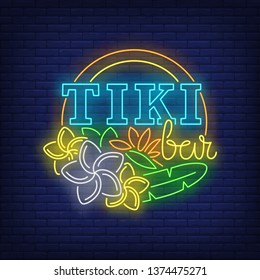 Tiki bar neon text with flowers. Resort, tourism, vacation design. Night bright neon sign, colorful billboard, light banner. Vector illustration in neon style.