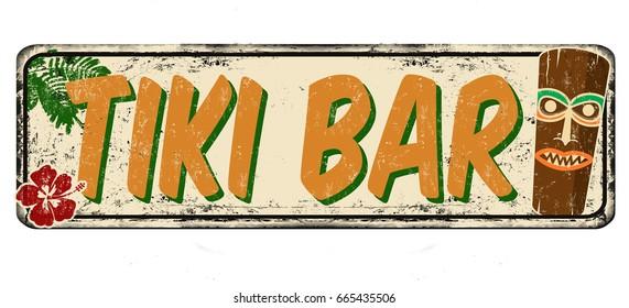 Tiki bar vintage rusty metal sign on a white background, vector illustration