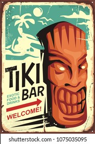 Tiki bar vintage sign concept with tiki mask and tropical landscape. Hawaii cafe restaurant ad on old retro background.
