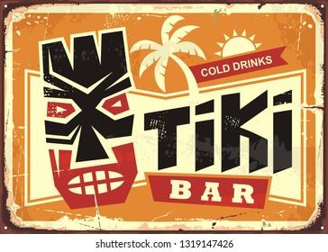 Tiki bar vintage tin sign with Hawaiian tiki mask and creative typography. Food and drink cafe advertisement sign. Hawaii vacation souvenir.