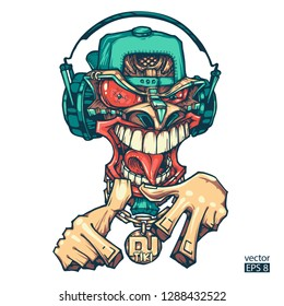 Tiki DJ. Tiki rapper. Can be used for creating logo, posters, flyers, emblem, prints, web. Hand drawn vector illustration