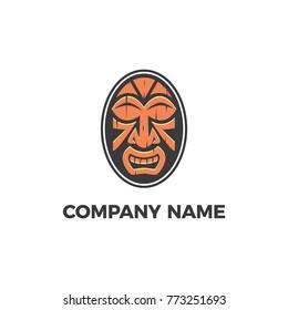 Tiki Hawai God. Tropical Tiki mask. Logo, label. Vector. Hawaiian tiki god statue masks.