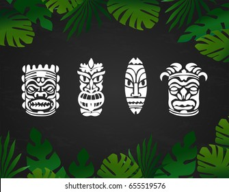 Tiki hawaiian mask summer vector illustration with tropical palm leaves