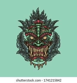 tiki head mask illustration. culture illustration
