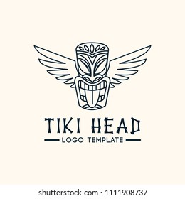Tiki head mask totem vector logo template. Minimalistic line illustration of Hawaiian culture.