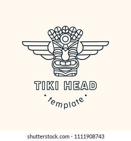 Tiki head mask totem vector logo template. Minimalistic line illustration of Hawaiian culture.