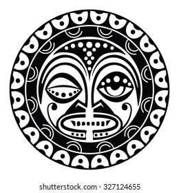 Tiki is human-like figure that represents Polynesian semi-gods. Tiki used  as the Maori amulets and rituals  and in tattoo art. Sacred sign and symbols.Human emotion - bloodlust. Stock vector.
